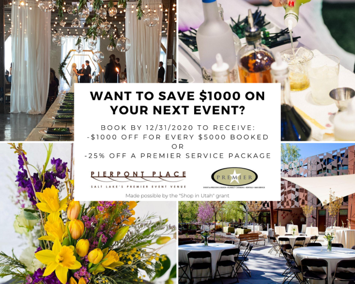 Save $1000 on every $5000 booked with Pierpont Place Event Venue, or 25% off any individual service package with Premier Event Services! Contact us for more information.