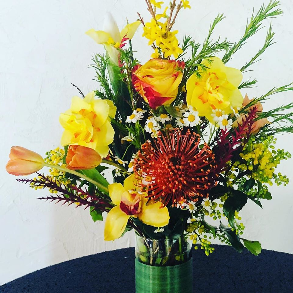 Bright Yellow and Orange Floral Arrangement
